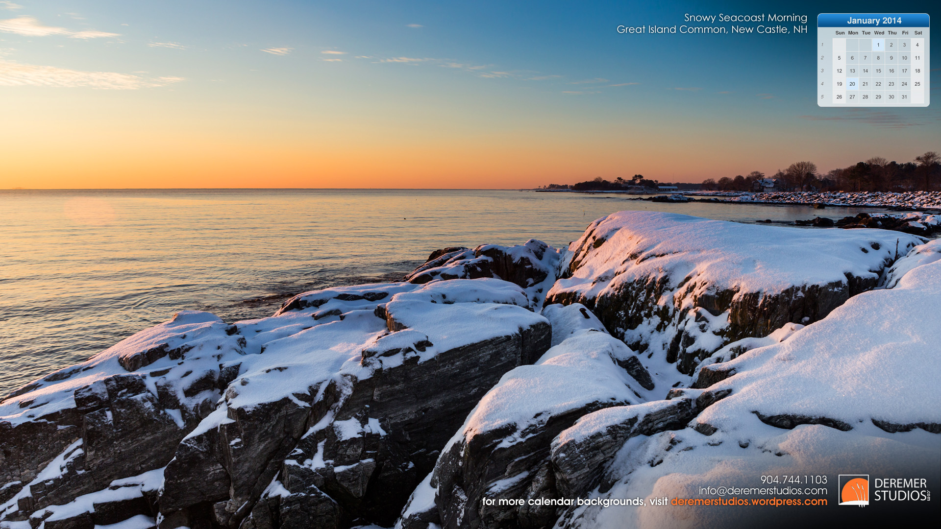 2014 01 January - Snowy Ocean Rocks Great Island Common New Castle